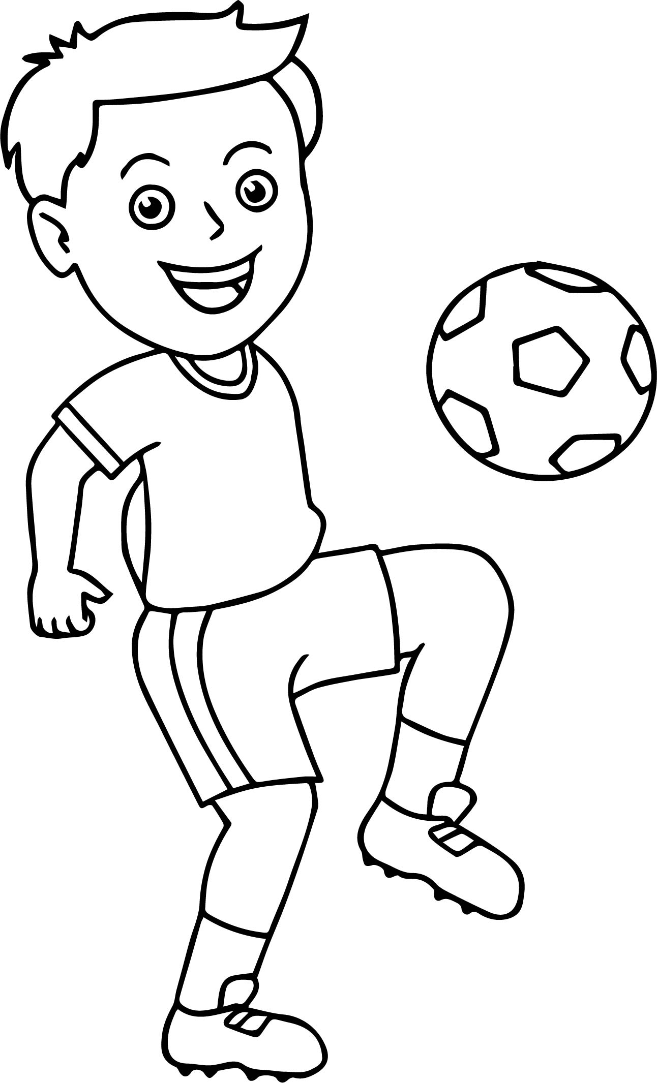 Soccer Boy Bouncing Soccer Ball On His Knee Playing
