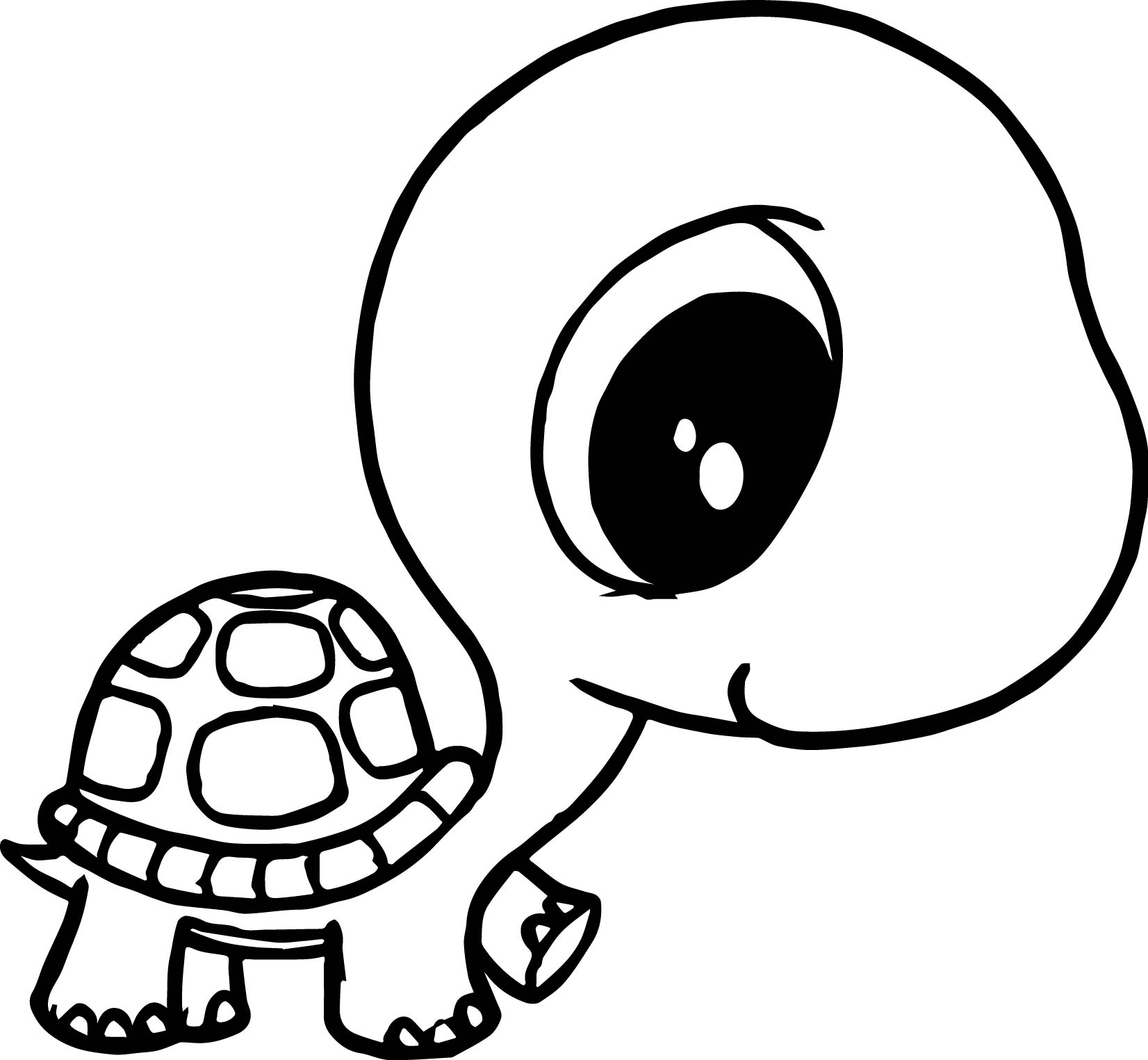 Big Head Small Body Tortoise Turtle Coloring Page Wecoloringpage