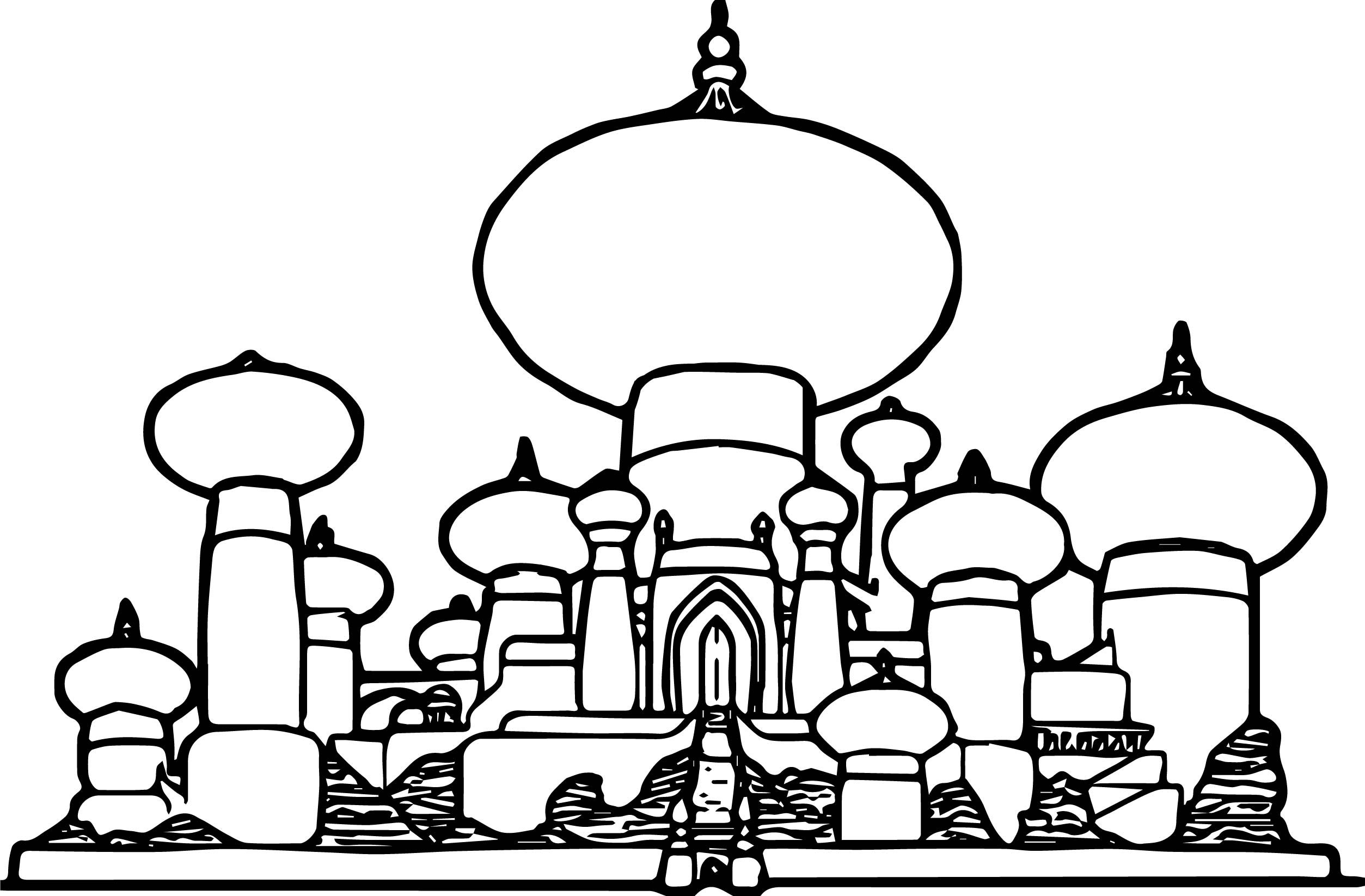 Disney Graphics Aladdin Castle Coloring Page Wecoloringpage