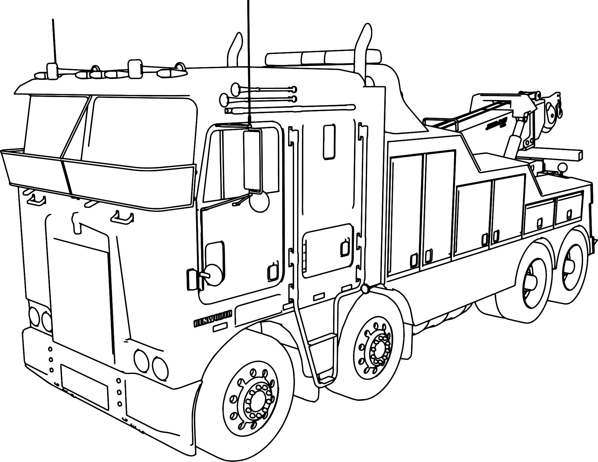 Kenworth Wrecker 8 4 Long Trailer Truck Coloring Page