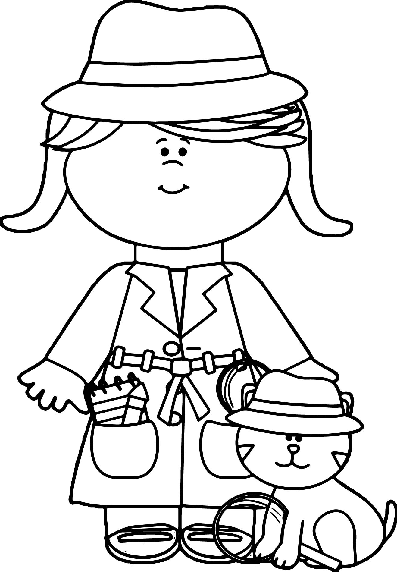 Little Girl Detective With Cat Coloring Page