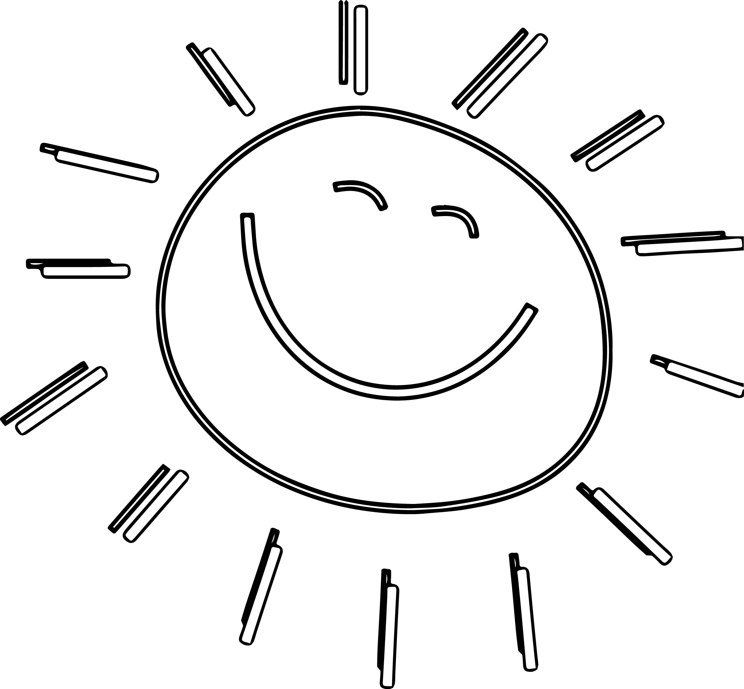 Summer Funny Happy Sun Coloring Page
