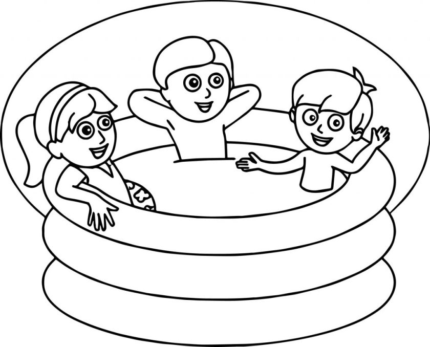 summer kids pool coloring page  wecoloringpage