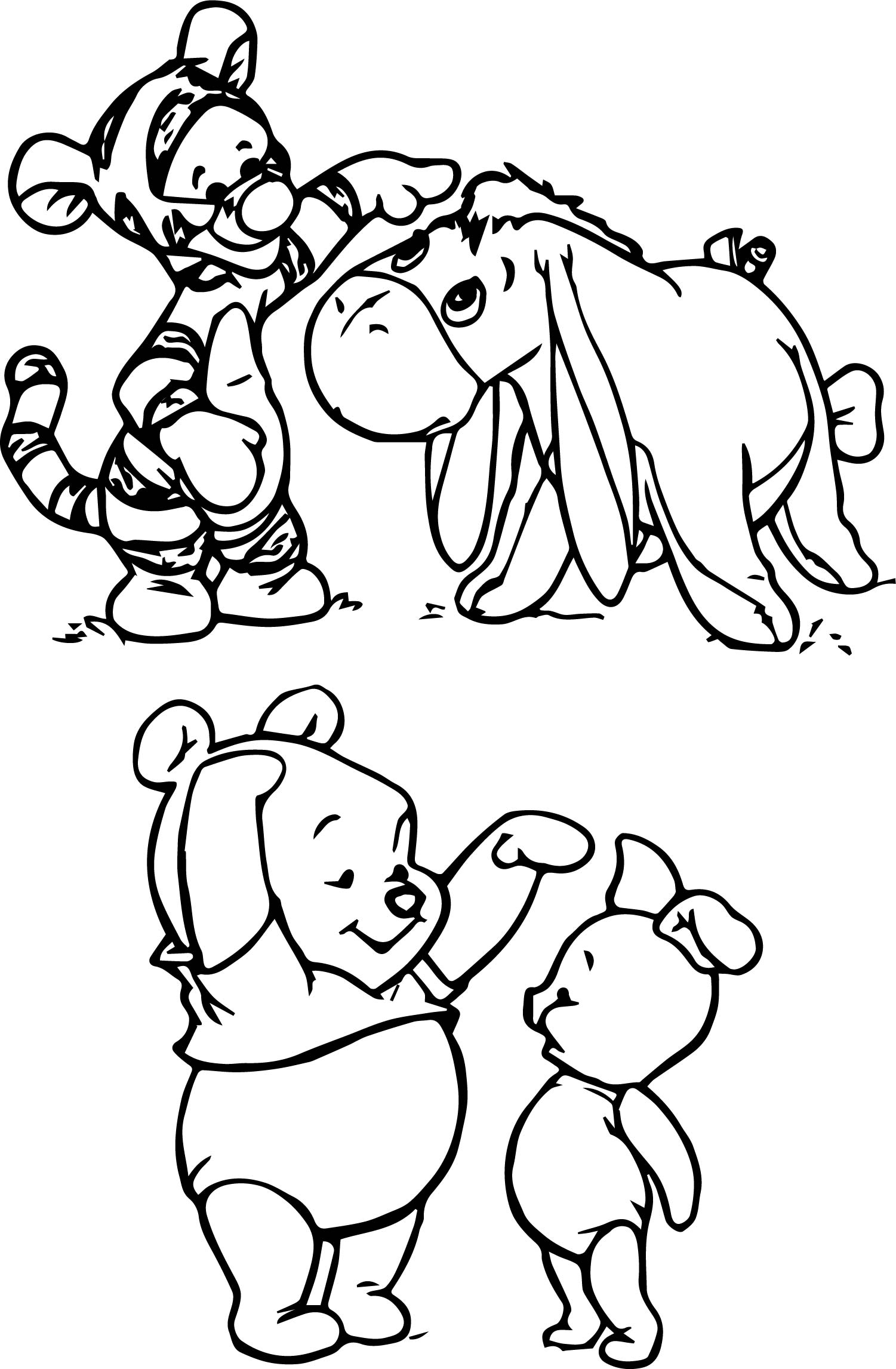 Winnie The Pooh Pooh Piglet Tigger And Eeyore Coloring Page