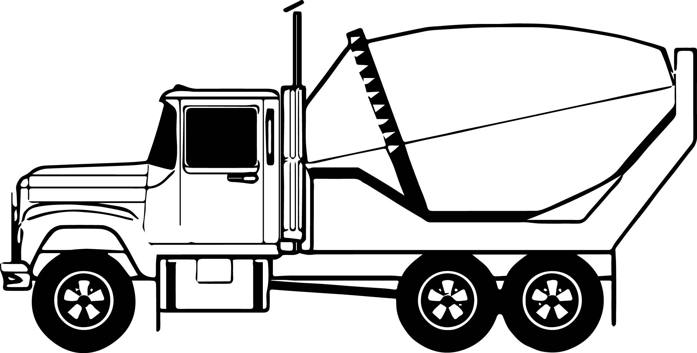 Cement Truck Concrete Mixer Clip Art Sketch Coloring Page