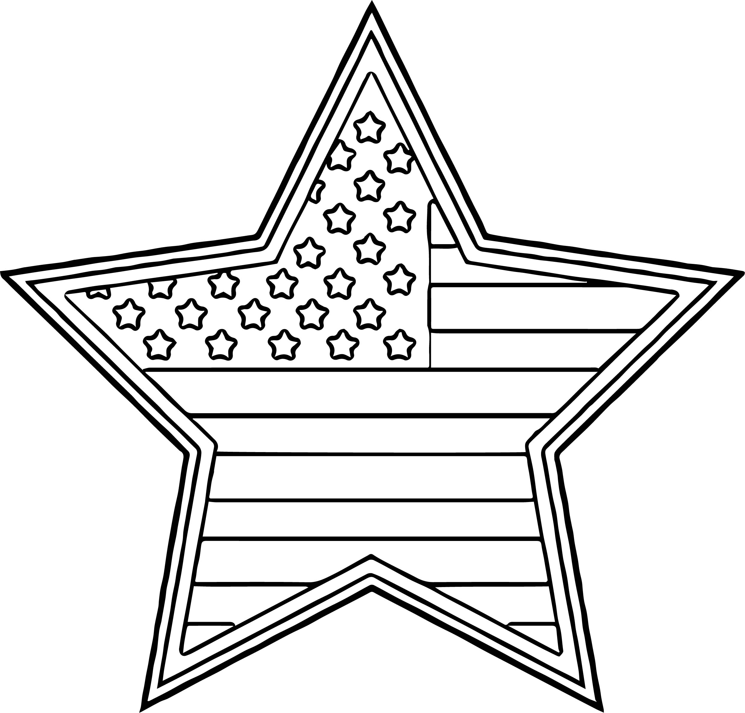 American Flag Star Coloring Page