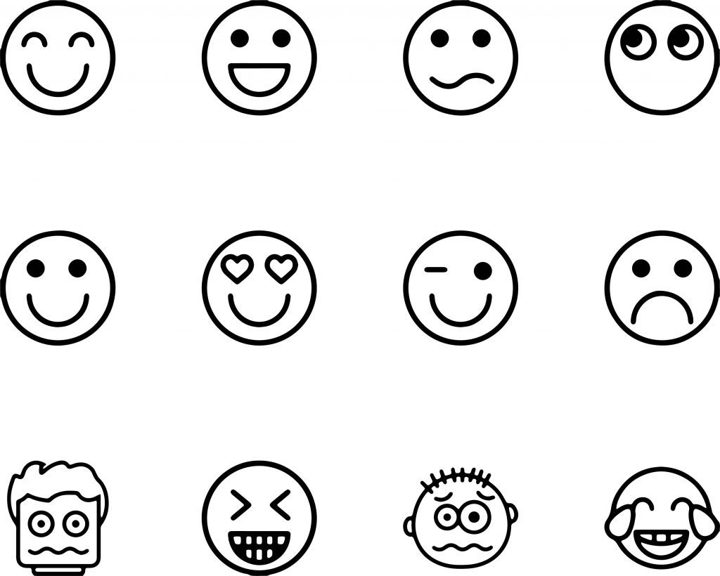 Emoticons Collection Set Feelings Coloring Page
