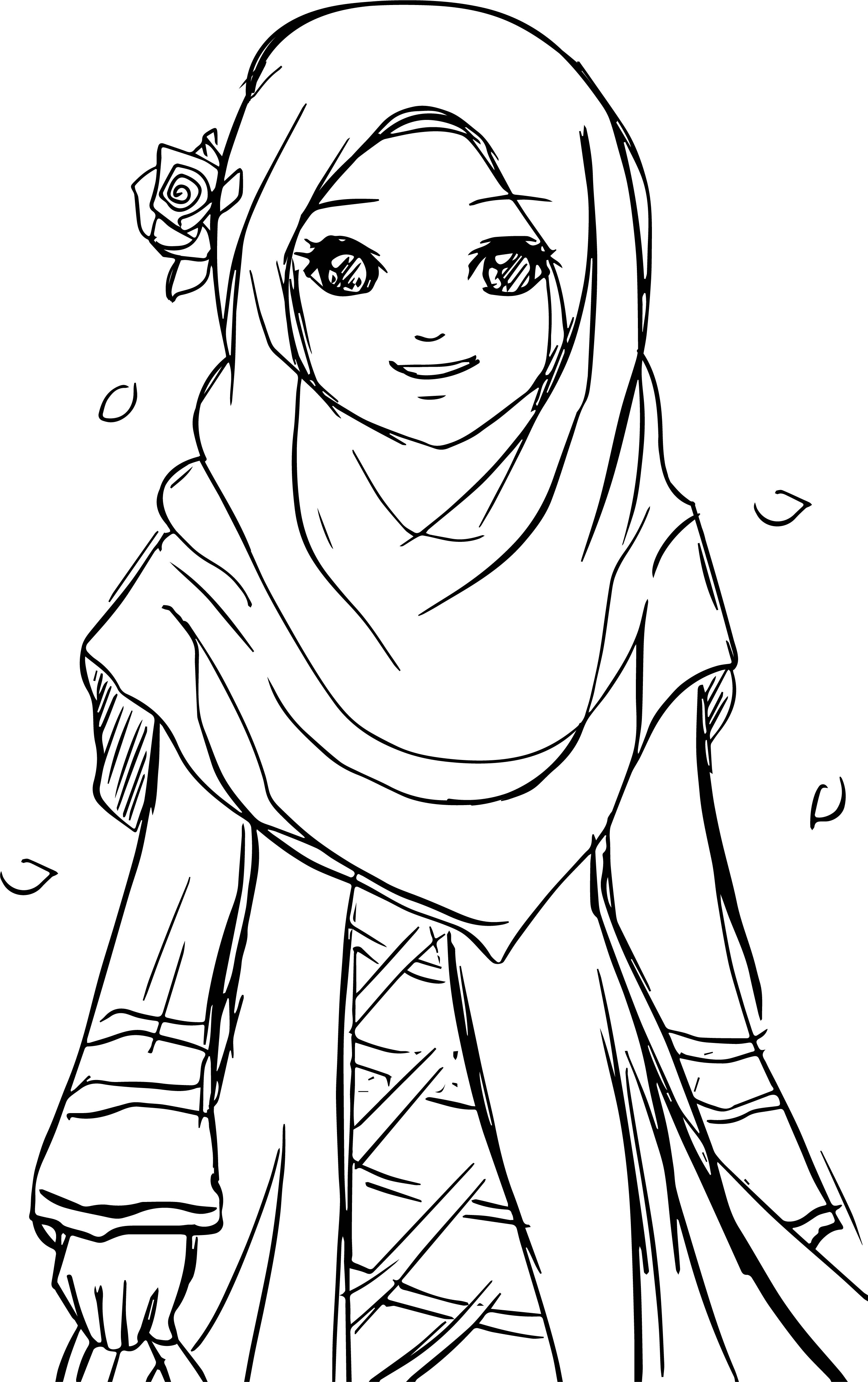 Islamic Muslim Wears Hijab Girl Coloring Pages Wecoloringpage
