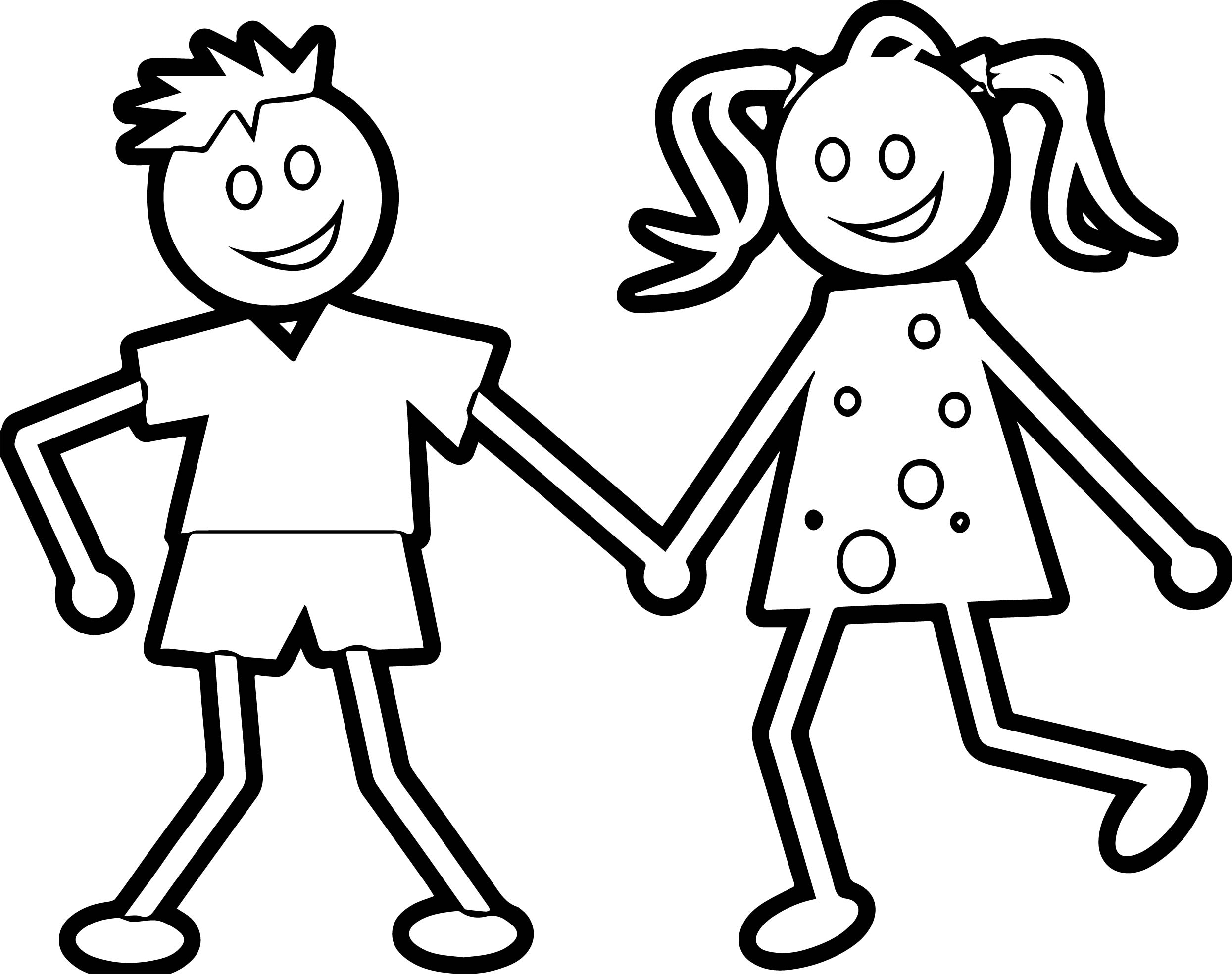 Any Kids Boy And Girl Coloring Page