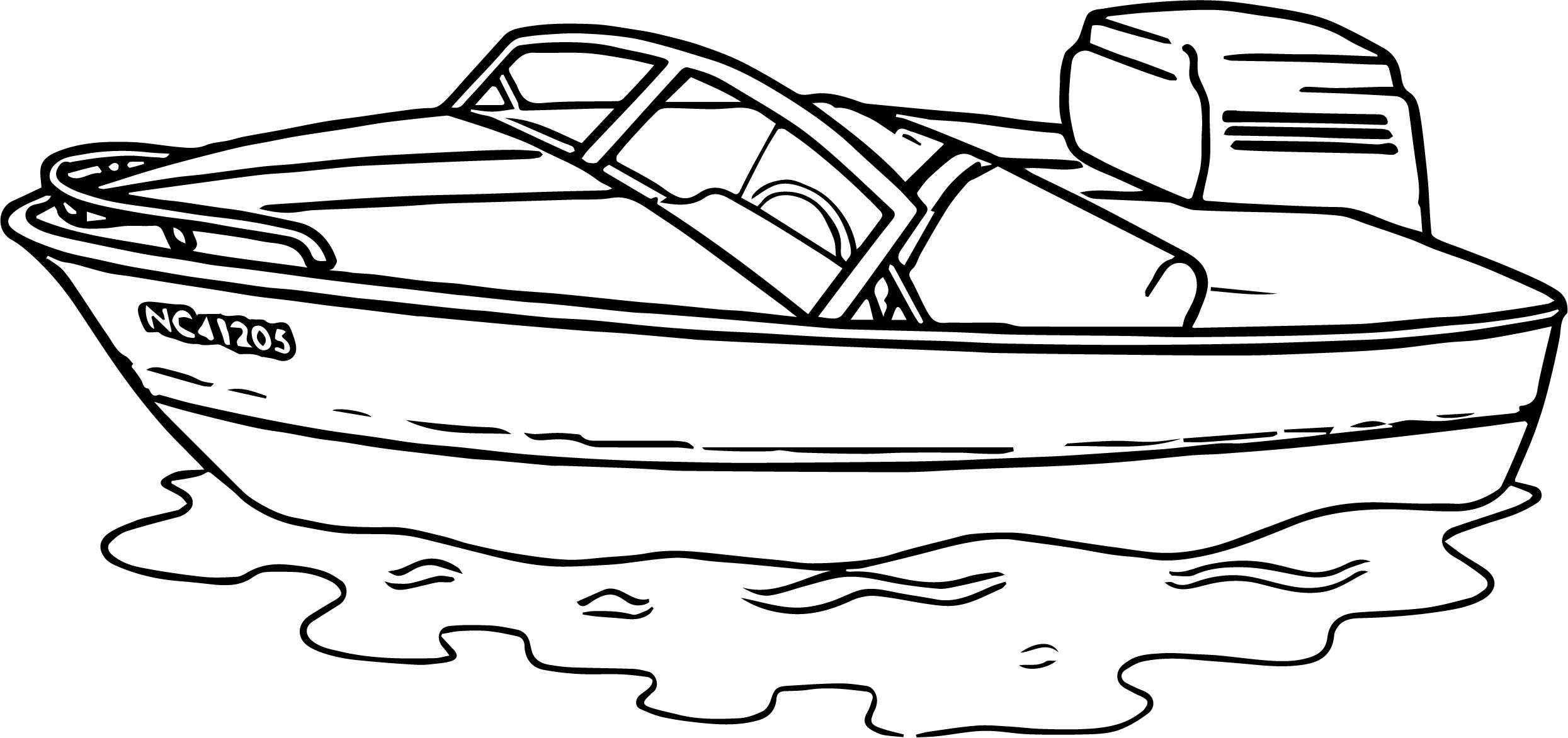 Any Motorboat Aquatic Coloring Page