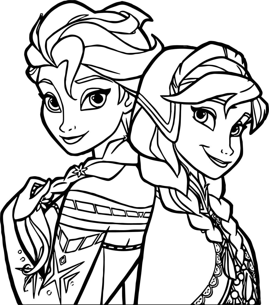 Frozen Sisters Coloring Page | Wecoloringpage.com | disney frozen coloring pages free printable
