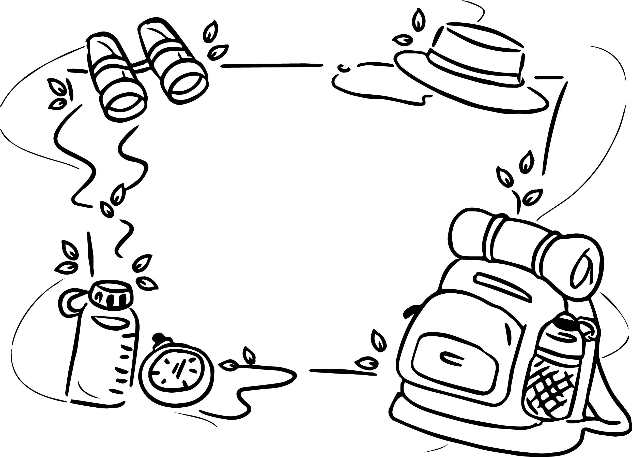 Background Camp Camping Coloring Page