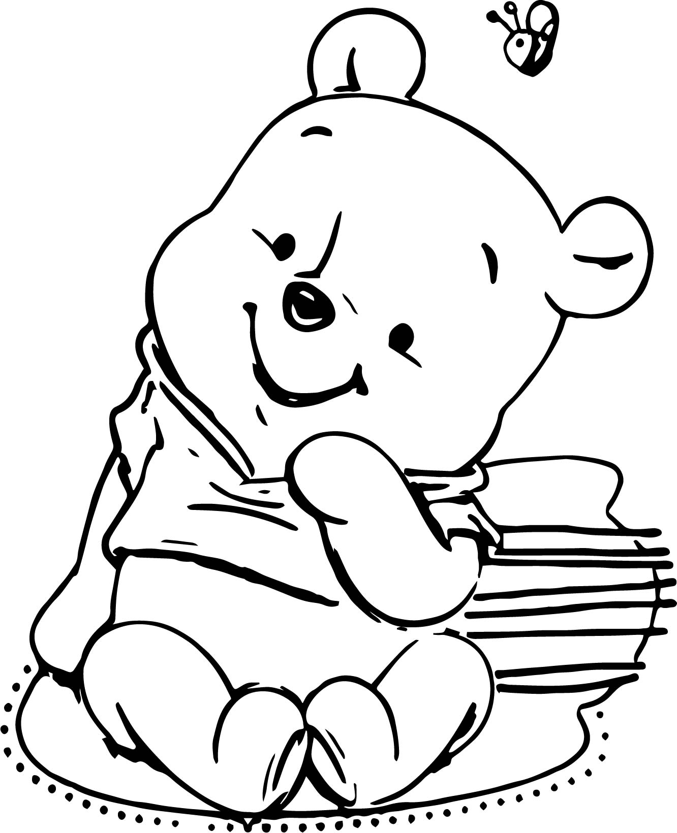 Classic Winnie The Pooh Baby Shower Invitations Templates Coloring Page
