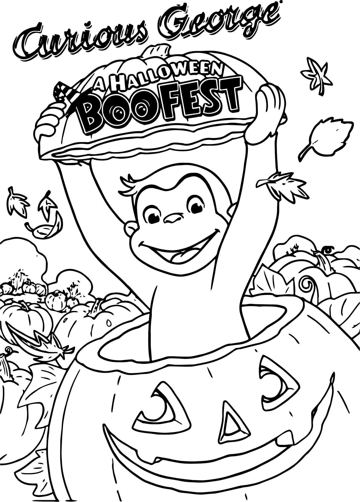 Curious George A Halloween Boofest Coloring Page