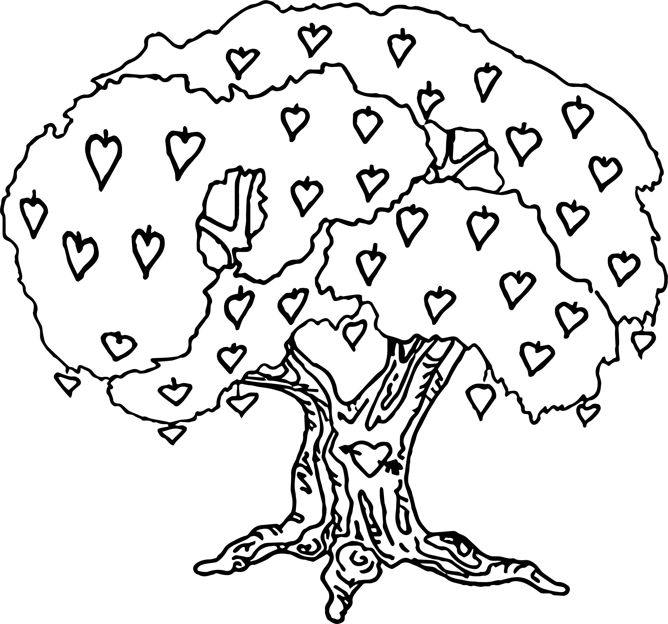 Lively Apple Tree Coloring Page