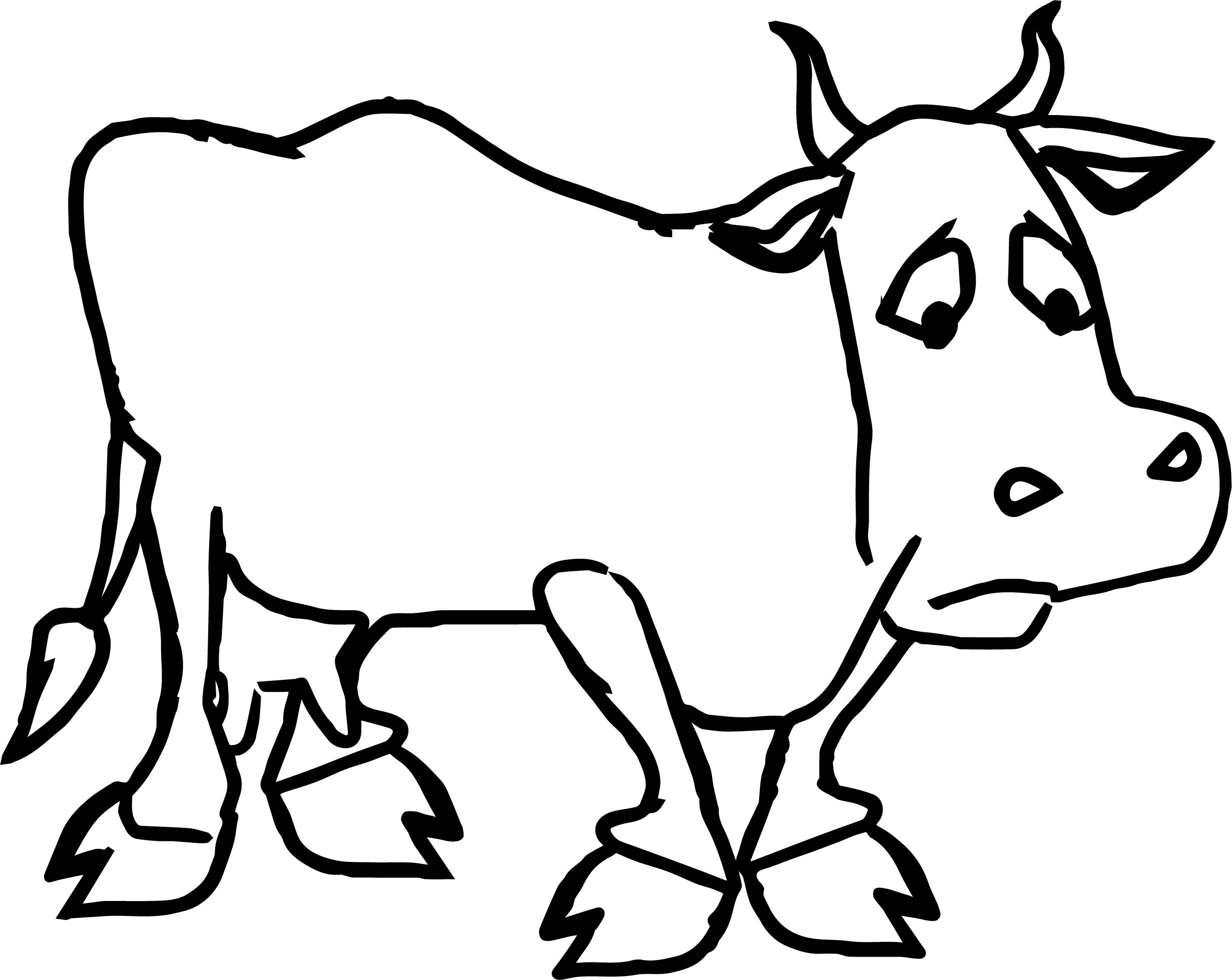 Sad Farmer Cartoon Sad Cow Coloring Page