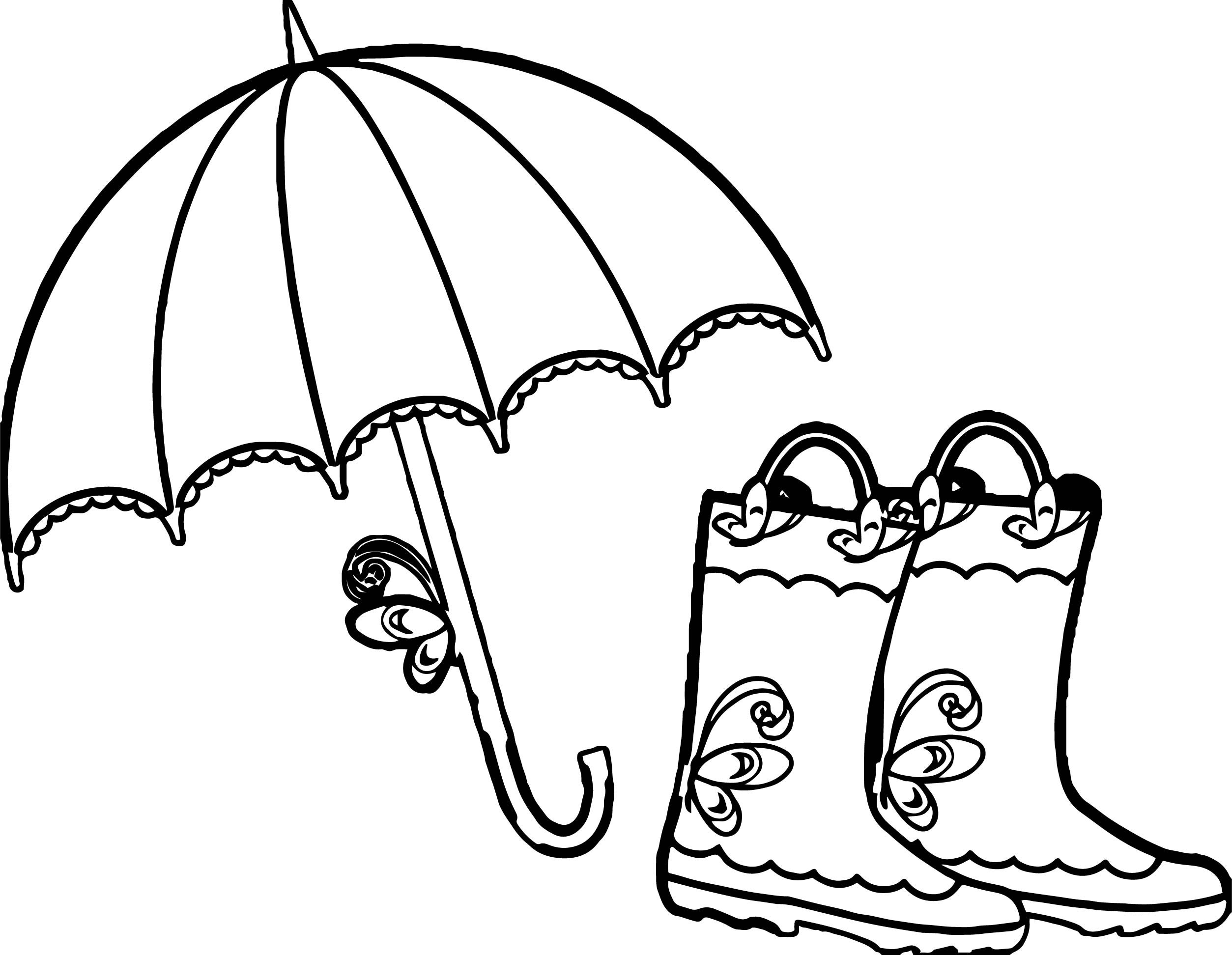 Umbrella And Boots April Coloring Page