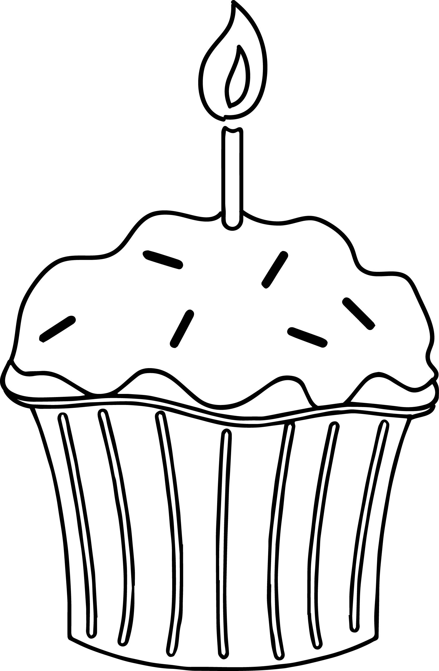 Birthday Cupcake With Candle Coloring Page