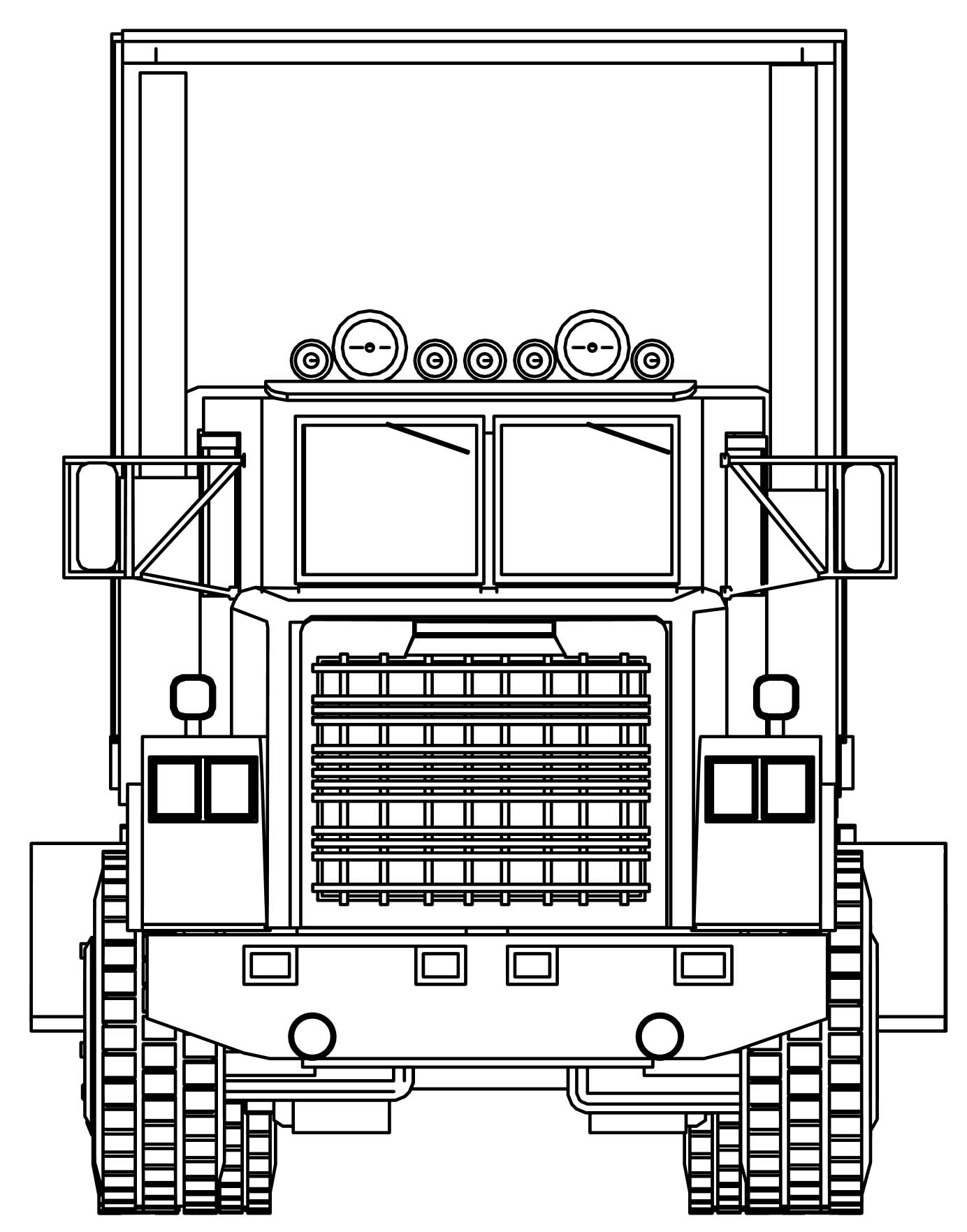 Industrial Truck Big Truck Front View Coloring Page