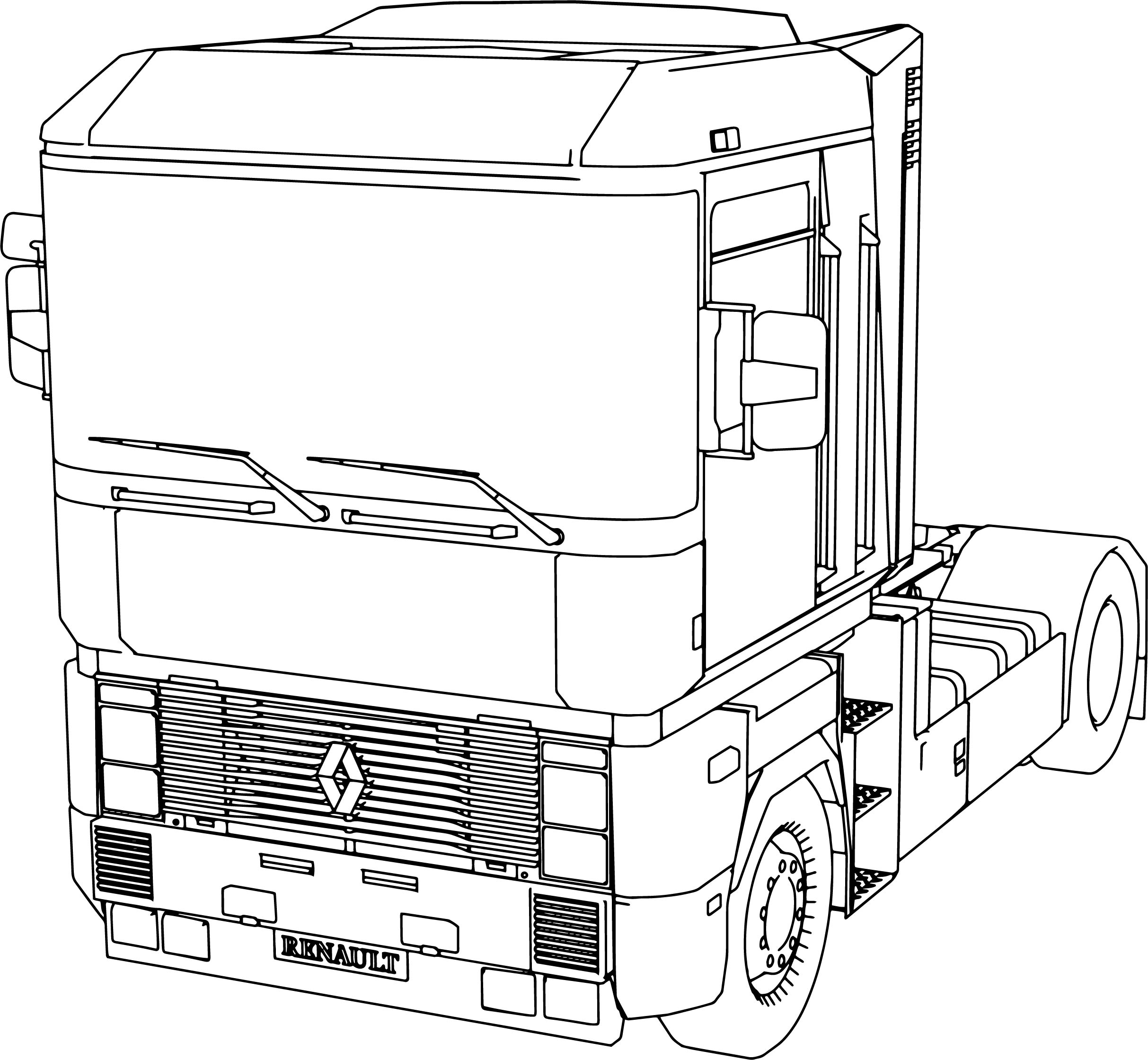 Renault Magnum Long Vehicle Truck Coloring Page
