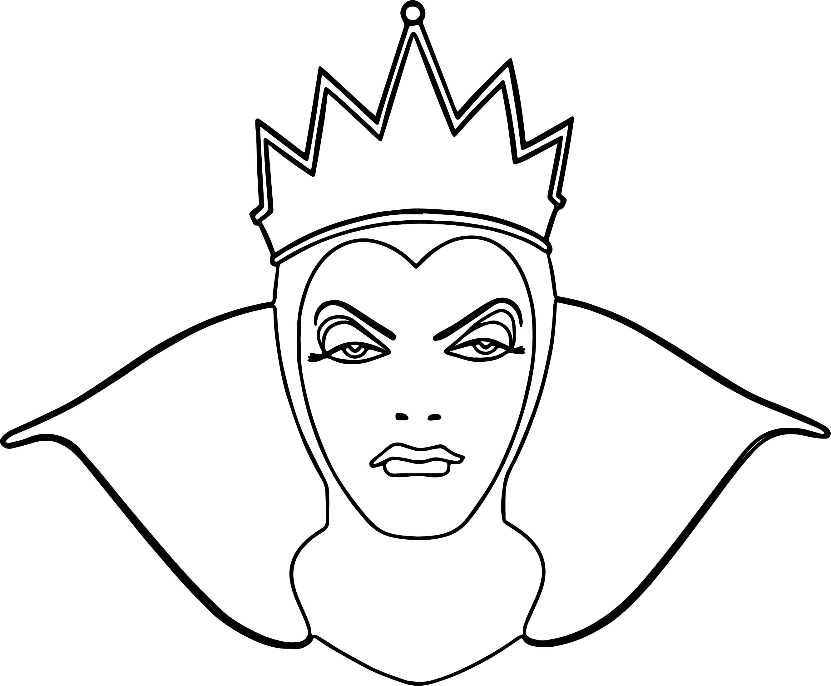Snow White Evil Queen Witch And Huntsman Front View Face Coloring