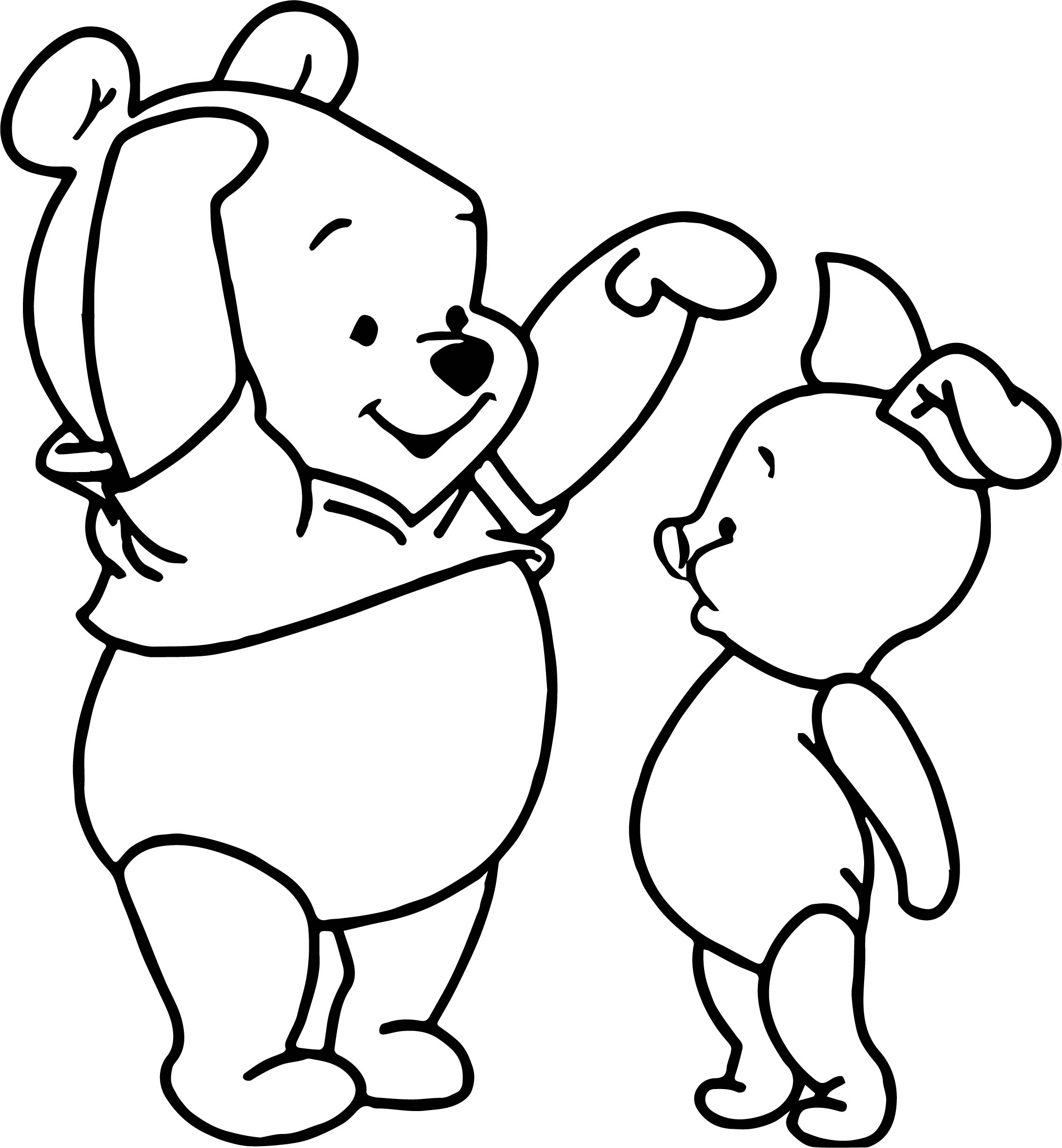 Baby Piglet Winnie The Pooh Tall Short Coloring Page