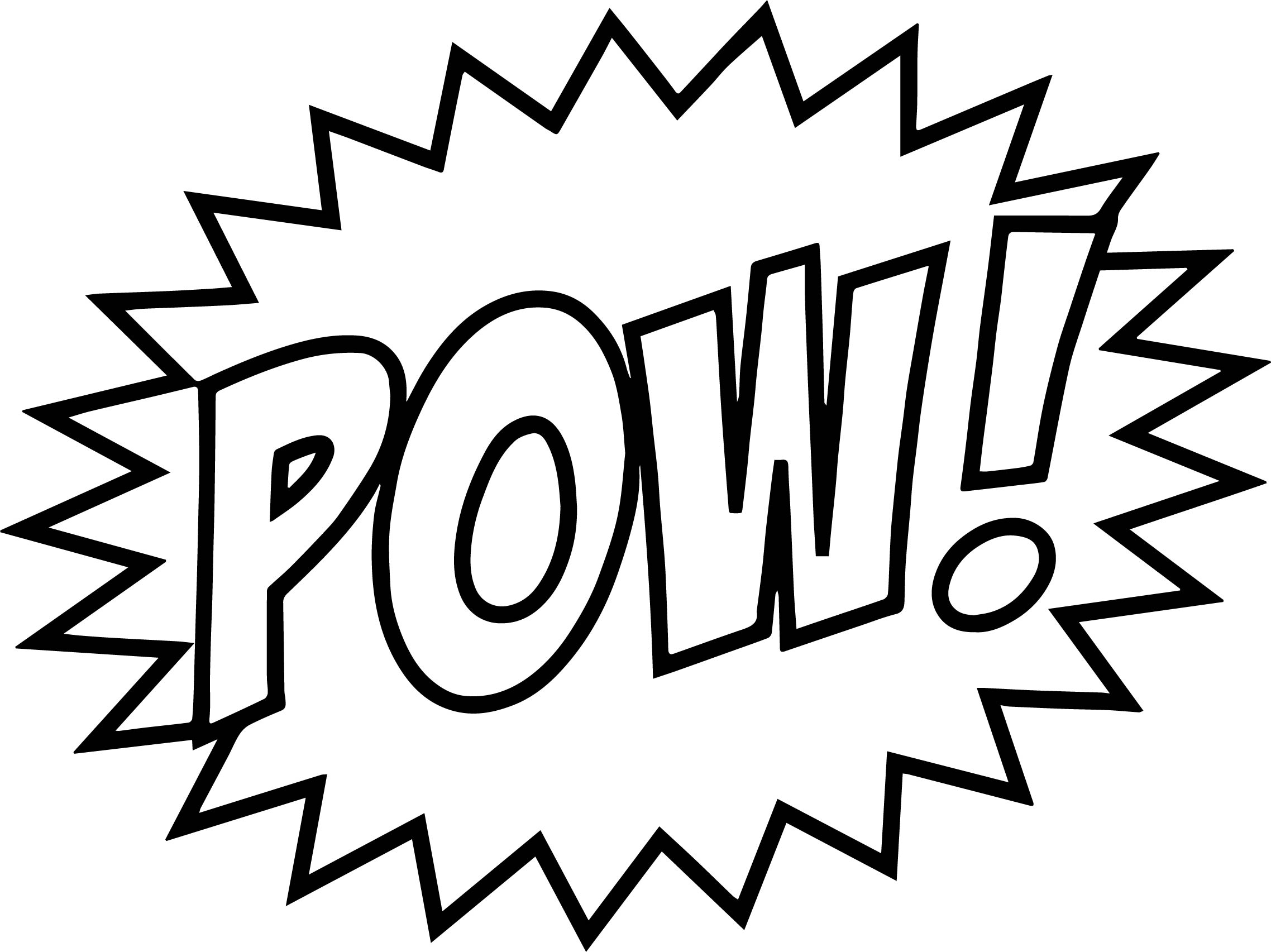 Batman Words Pow Text Coloring Page
