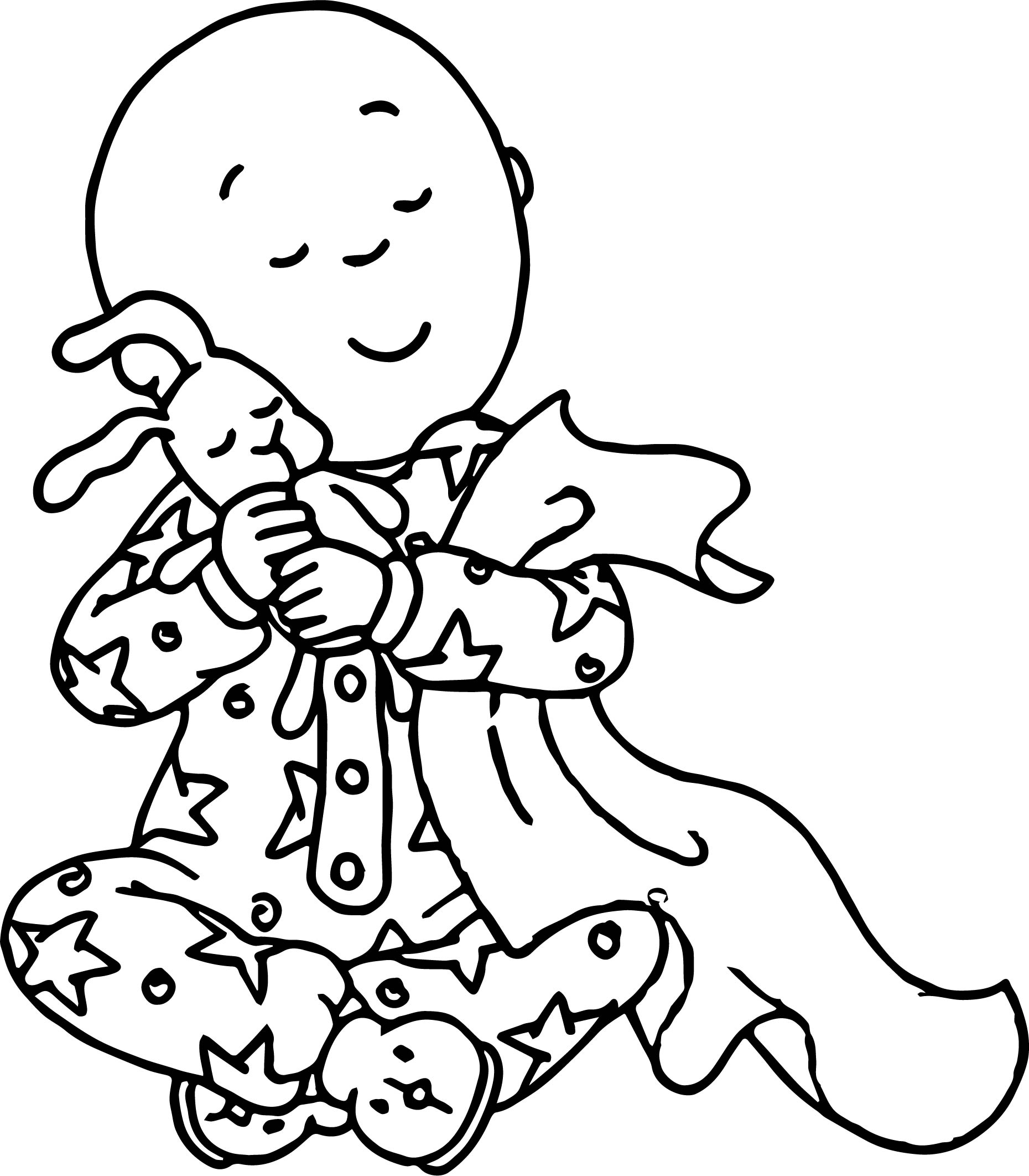 Caillou Love Toy Bunny Coloring Page