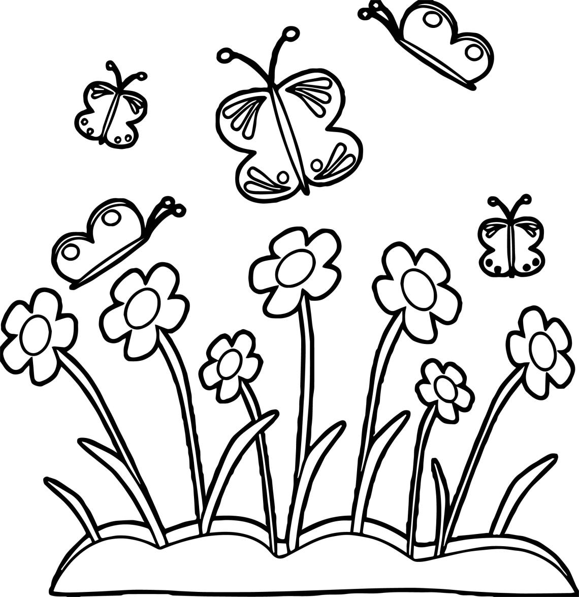 Spring Flower Border Spring Flowers And Butterflies ... | spring flower coloring pages