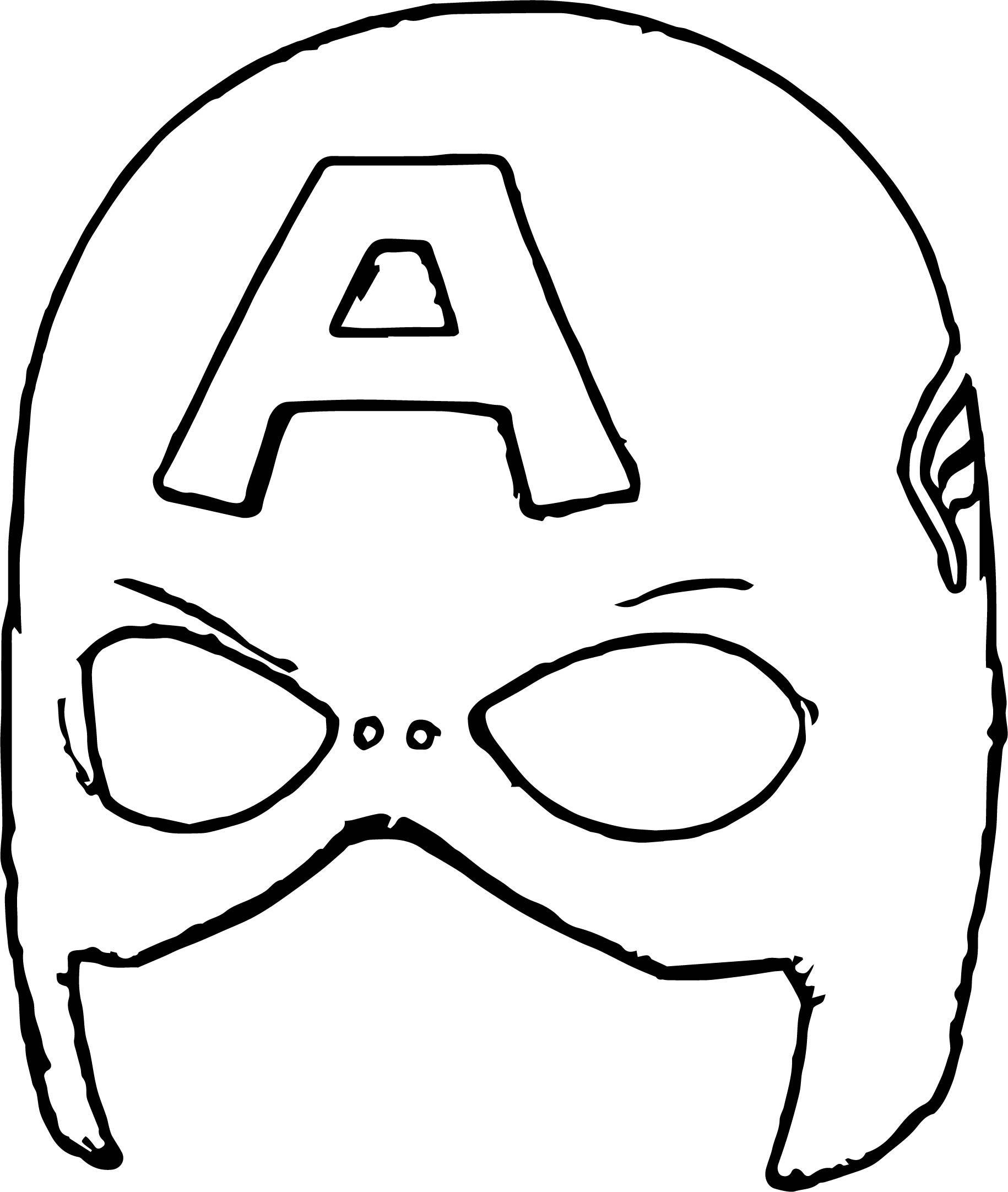 Captain America Mask Coloring Pages Sketch Coloring Page