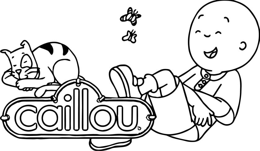 laugh caillou and cat coloring page  wecoloringpage