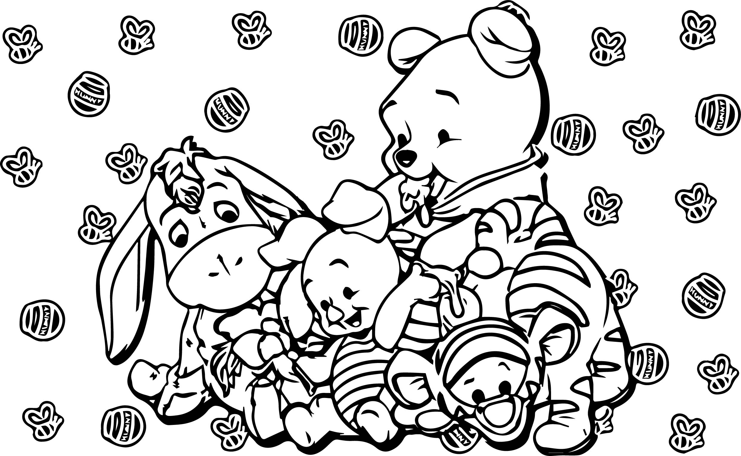 Baby Piglet Winnie The Pooh Honey Bee Coloring Page