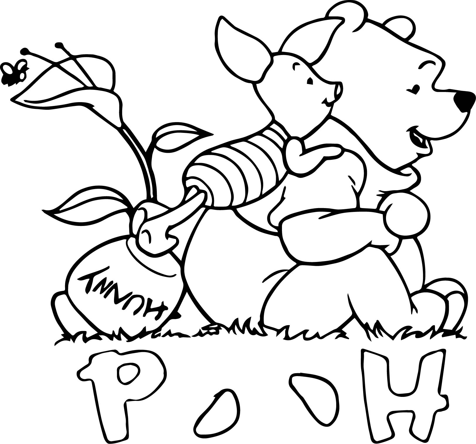 Baby Piglet Winnie The Pooh Looking Coloring Page