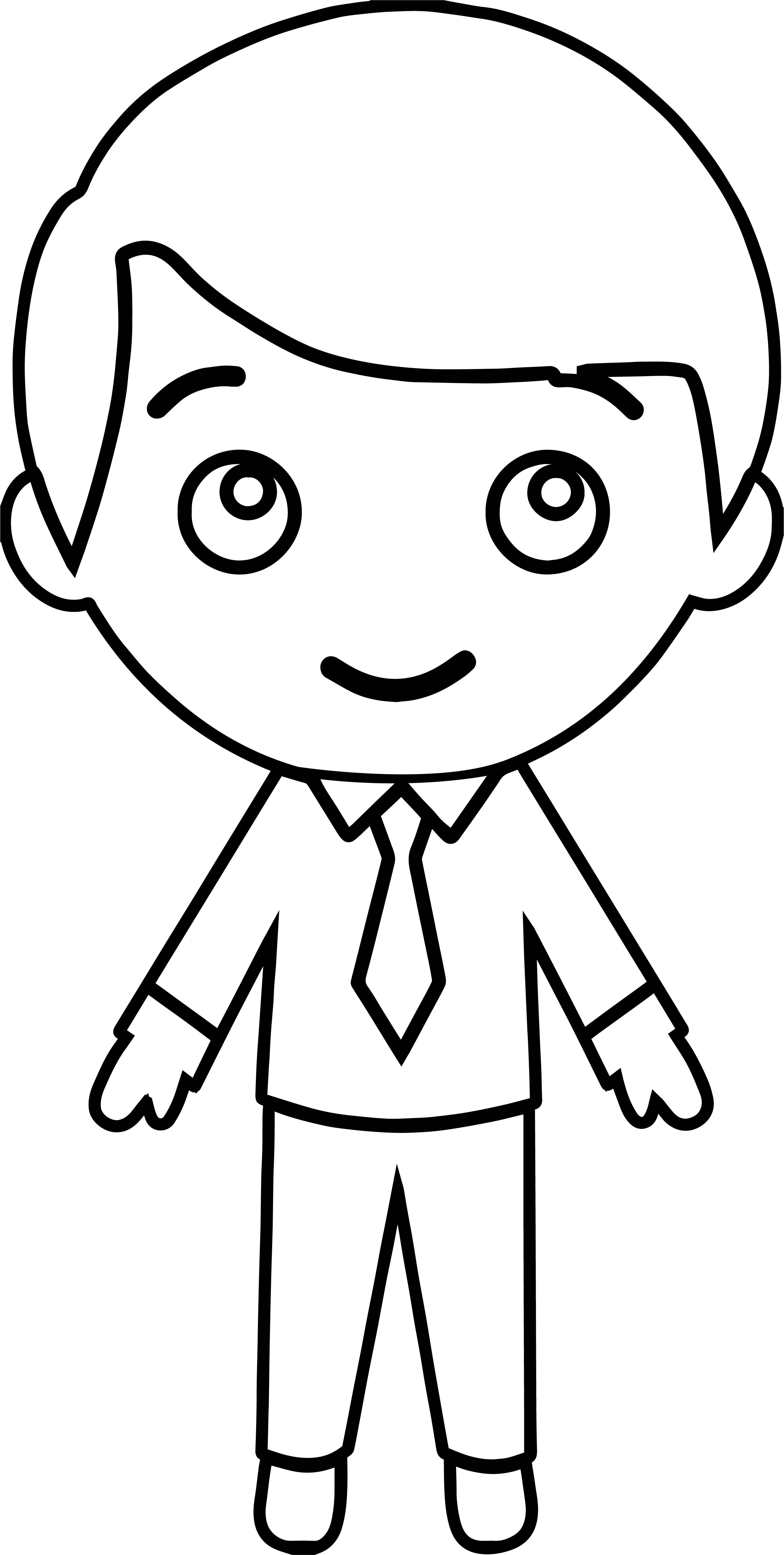 Cute Sweet Stick Figure Outline Student Boy Coloring Page