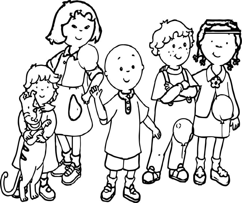 caillou together friends coloring page  wecoloringpage