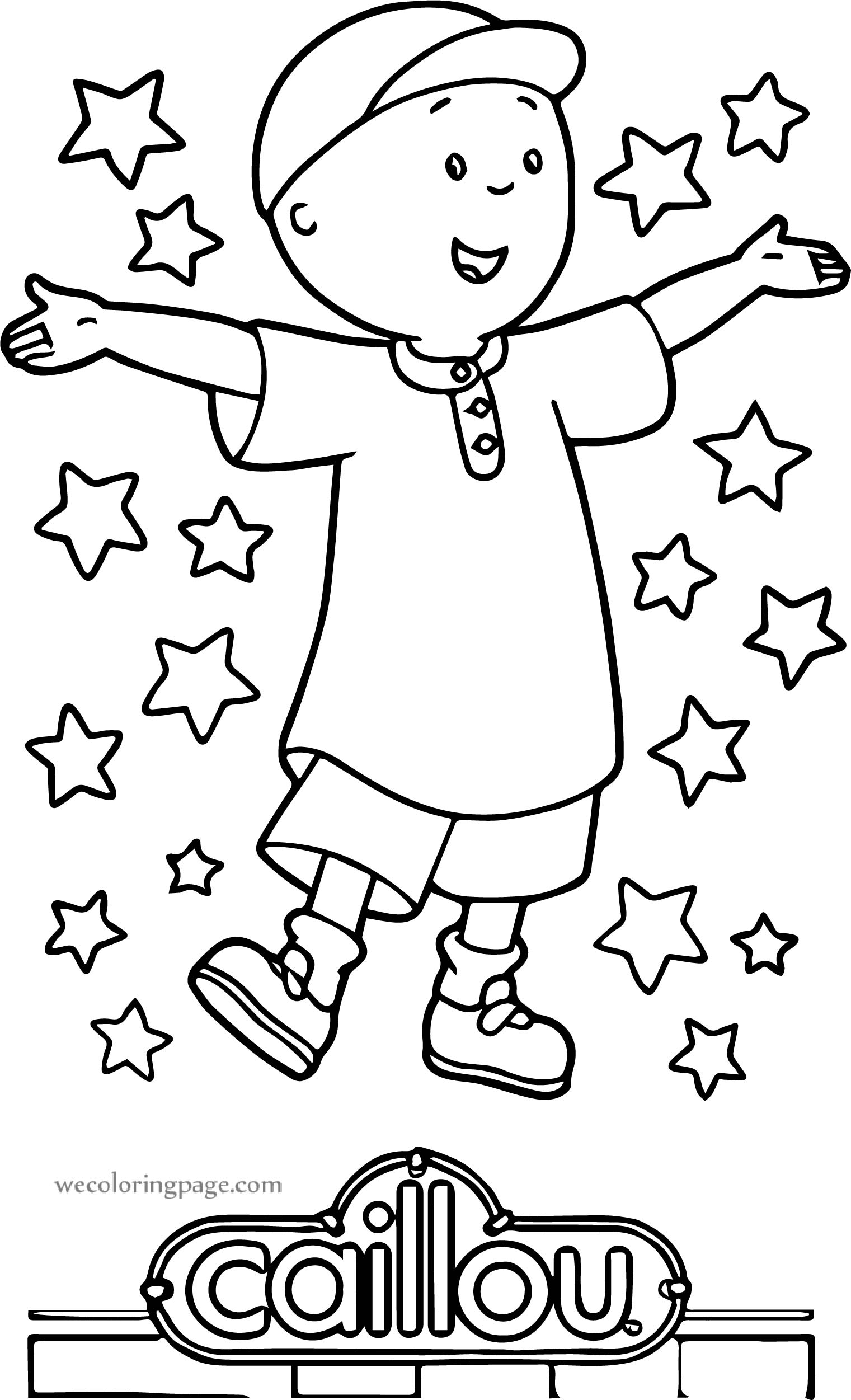 Caillou Star Sheet Printable Coloring Page