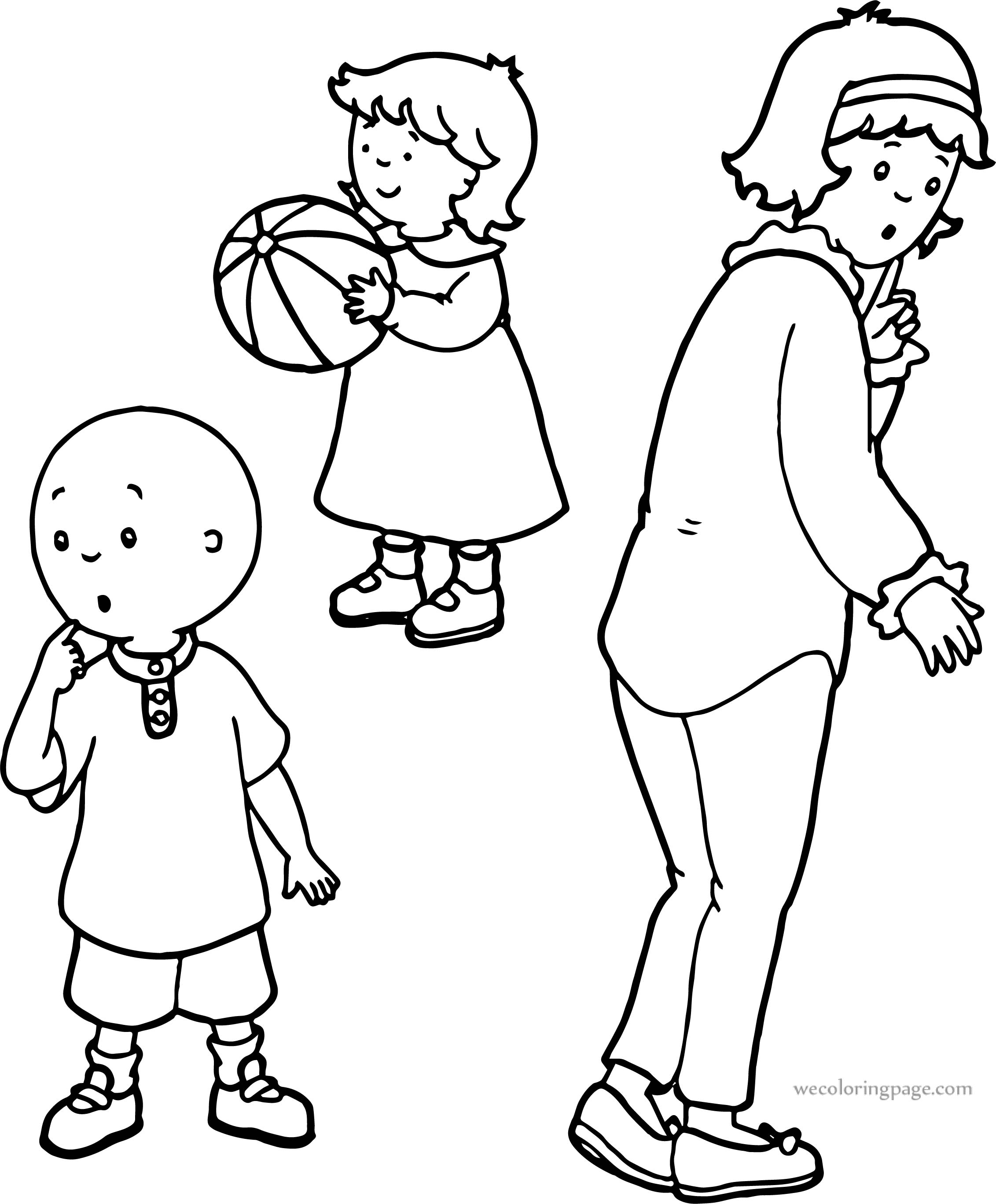 Thinking Caillou And Mother Together Sister Coloring Page