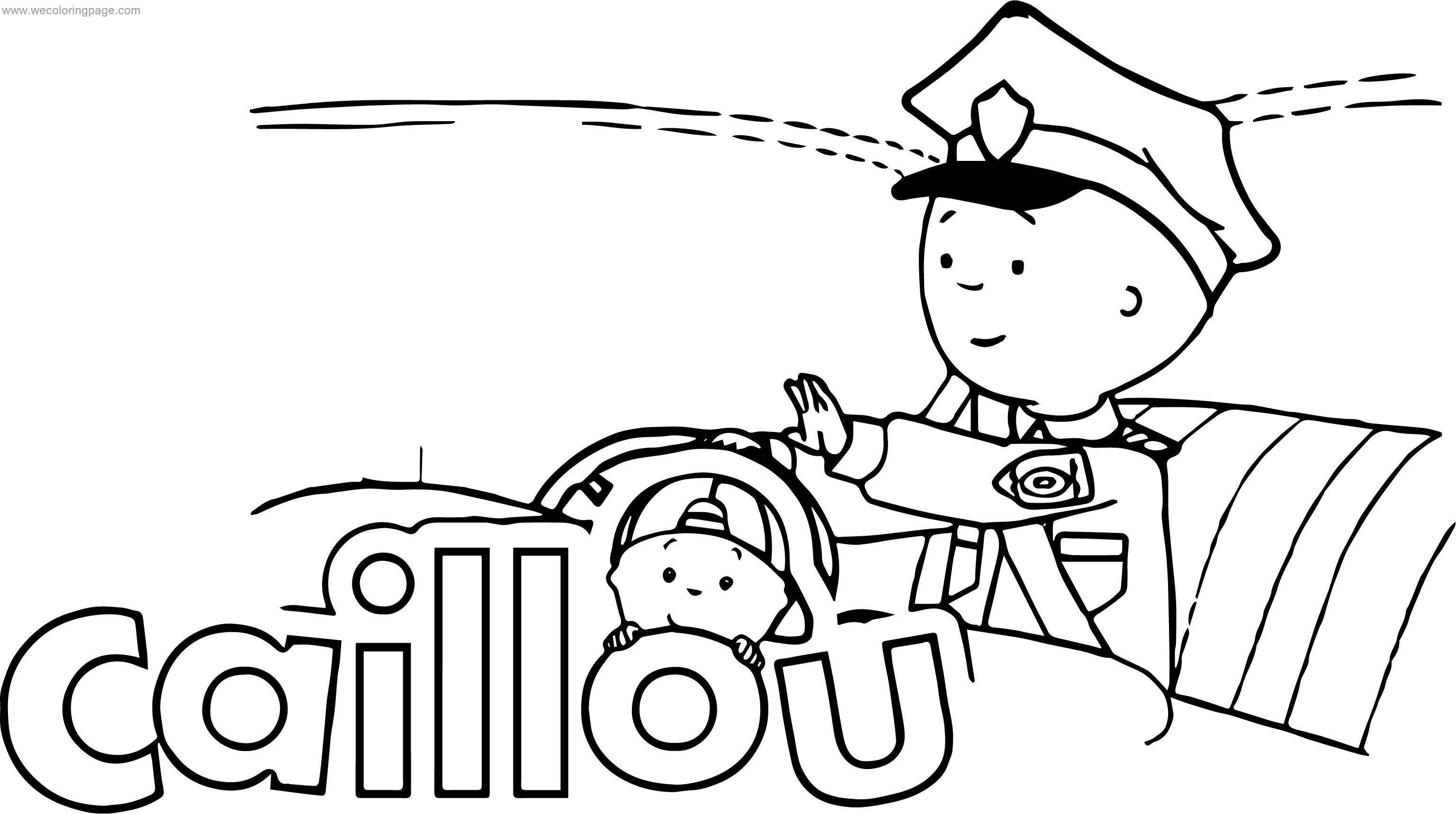 Caillou Police Coloring Page