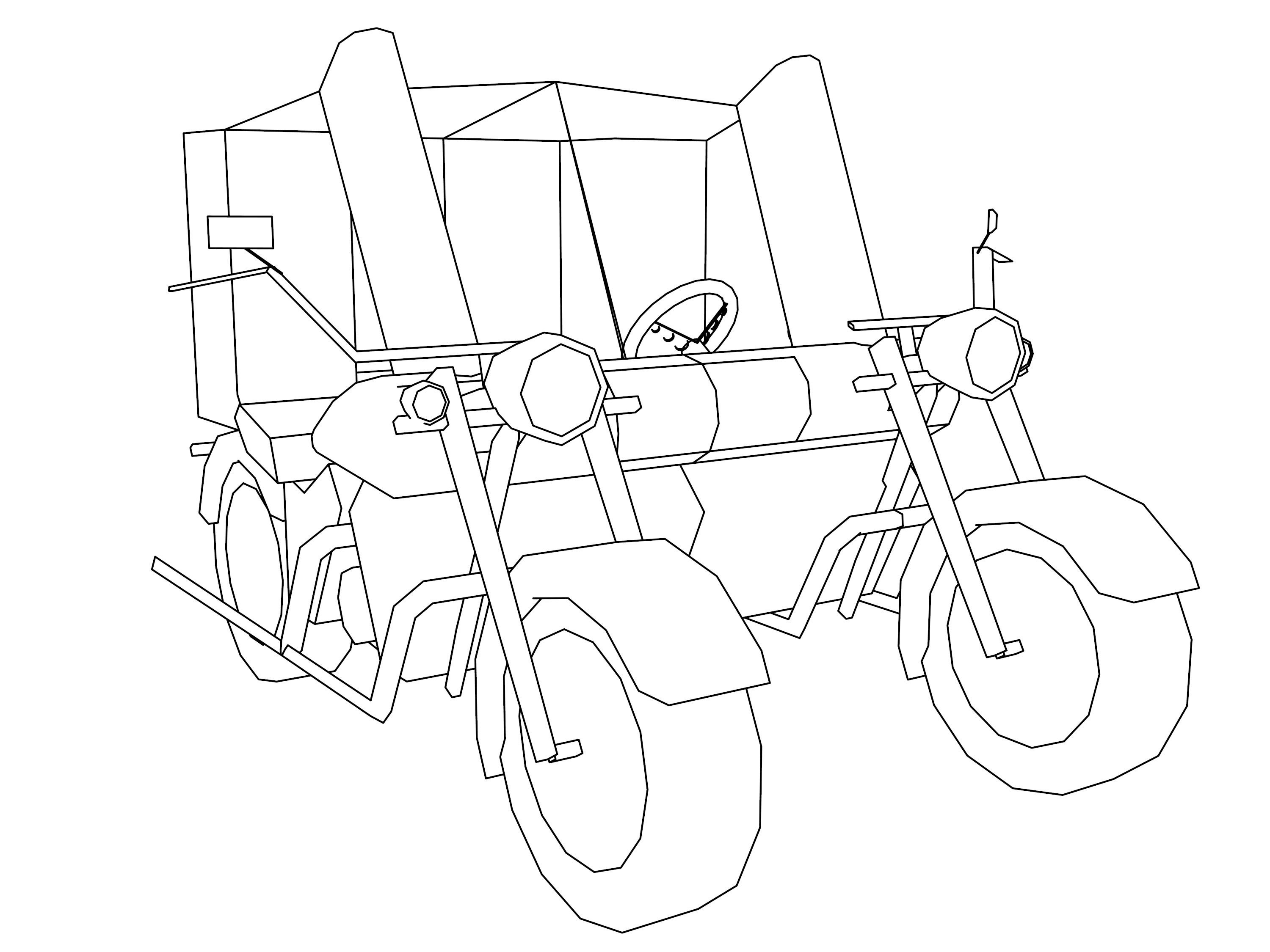 motorcycle car coloring page