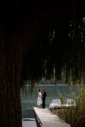 Couple, lake, boat