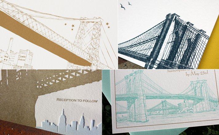 Yellow White Letterpress Wedding Invitations Postscript Brooklyn
