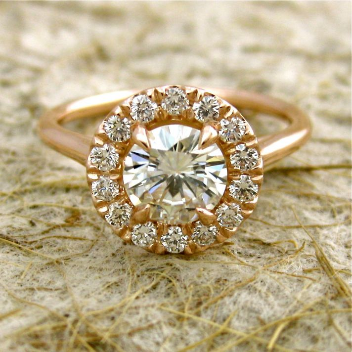 Halo Moissanite Engagement Ring with diamonds