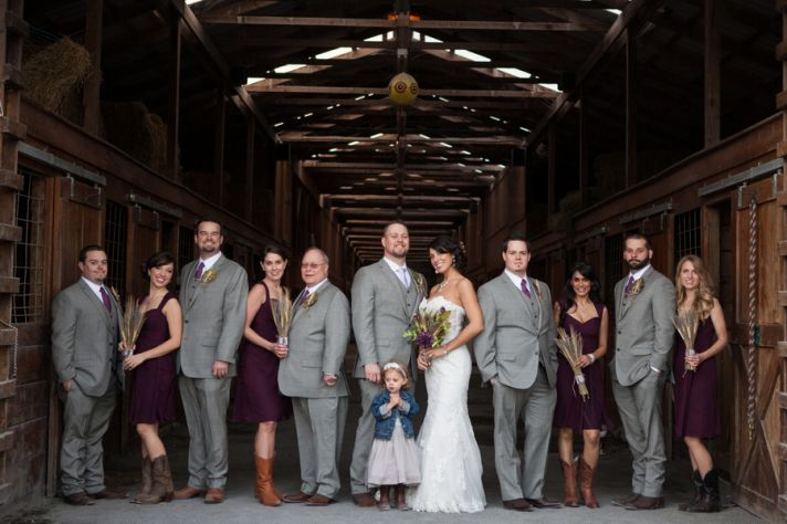 Barn wedding bridal party