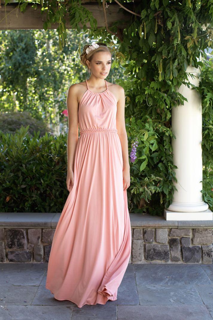 Pink floor length bridesmaids dress