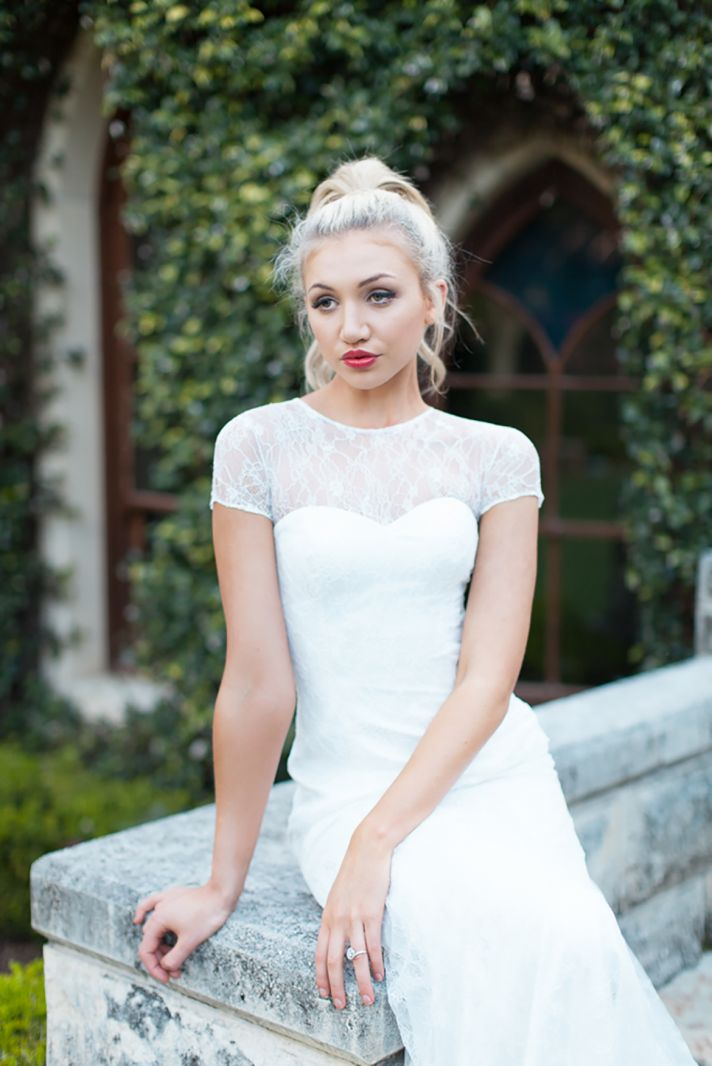 Brooke Wedding Gown with Illusion Lace Neckline