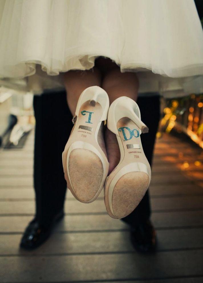 "Wedding Shoe With Blue ""I Do"" Writing On Soles"