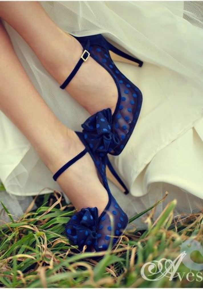 Blue Wedding Shoes With Sheer Blue Polka Dots