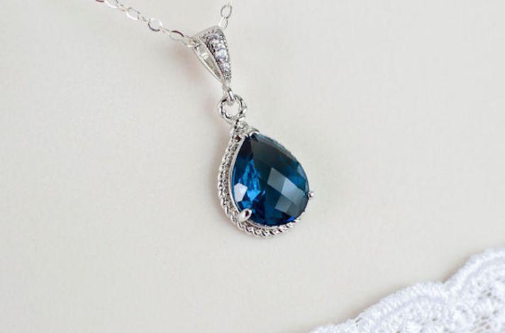 Blue Sapphire Teardop Necklace