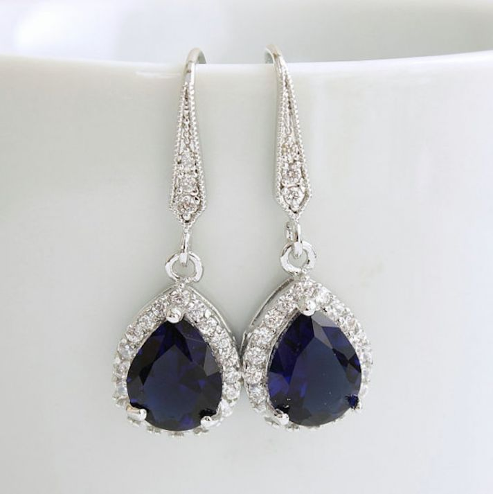 Dark Blue Sapphire Drop Earrings