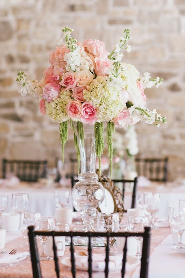 Romantic Floral Centerpiece with Pink Roses and Hydrangeas